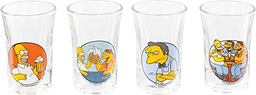 The Simpsons-Set di 4bicchierini da liquore-Homer, Barney & Moe in Moe S taverne