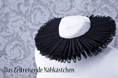 Mühlsteinkragen, Gran Gola, Krause, schwarz mit Spitze - Renaissance, Gothic