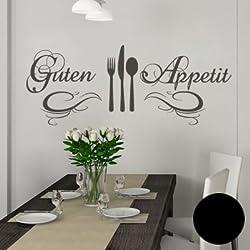 """A572 Wandtattoo """"Guten Appetit"""" 120cm x 47cm schwarz (erh. in 40 Farben und 3 Größen)"""