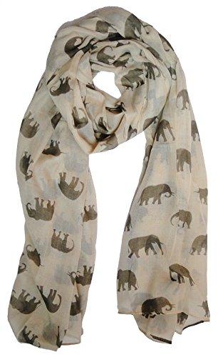 the-olive-house-scarves-foulard-pour-femme-avec-motifs-imprimes-delephant-creme-et-marron