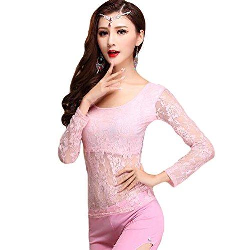 YiJee Damen Bauchtanz Kostüm Tops Belly Dance Spitze Bluse Pink M (Tanz Kostüme Mieten)