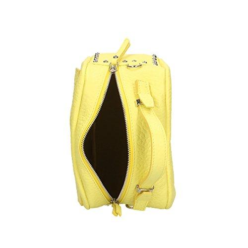 Chicca Borse Borsa a mano in pelle 23 x 18 x 12 100% Genuine Leather Giallo