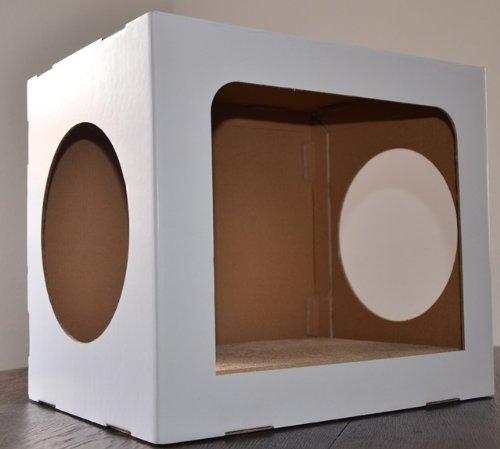 cubi-h (M) Katzenhaus mit Scratcher + Catnip aus Pappe für mittelgrosse und grosse Katzen
