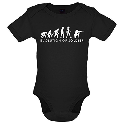 Evolution of Woman - Soldatin - Lustiger Baby-Body - Schwarz - 0 bis 3 Monate (Militär-kleinkind-t-shirt)