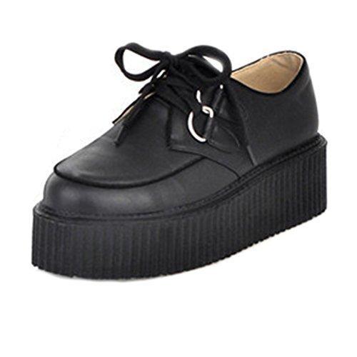 Minetom Femme Chaussures Retro Style Britannique Plate-forme Chaussures Punk Goth Femmes Lace Up plat Shoes