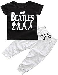 Longra 1Set Niño camiseta de bebé Tops + pantalones largos pantalones conjuntos