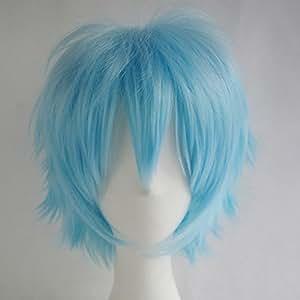 Light Blue : S-noilite Unisex Cosplay Short Cut Straight Hair Wig Women Men Anime Party Dress Hairstyle Wigs Light Blue