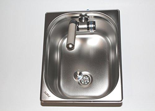 Preisvergleich Produktbild Edelstahl Spülbecken Camping Spüle Waschbecken + Ablauf 325x265x200mm Barwig Chrome Wasserhahn integriert (ad-ideen)
