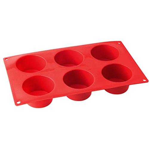 Dr. Oetker Muffinform aus Silikon 6er Cups Flexxibel, Silikonform für Muffins, Form aus hochwertigem Platinsilikon mit Antihaft-Eigenschaften (Farbe: Rot) - spülmaschinengeeignet, Menge: 1 Stück