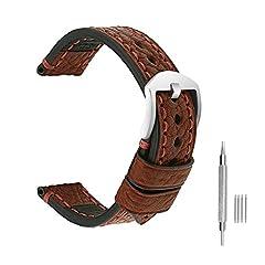 Idea Regalo - omyzam Cinturino italia pelle di vitello abbronzata in lega di protezione ambientale cinturini di ricambio morbido e comodo, impermeabile, anti allergico 26mm rosso