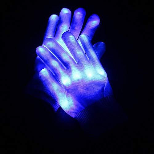 (AOLVO LED-Skelett-Handschuhe, blinkende Fingerhandschuhe, leuchtet Rave Glow Fäustlinge für Festivals/Weihnachten/Lagerfeuernächte/Party/Spiele/Laufen/Sport/Geschenk blau)