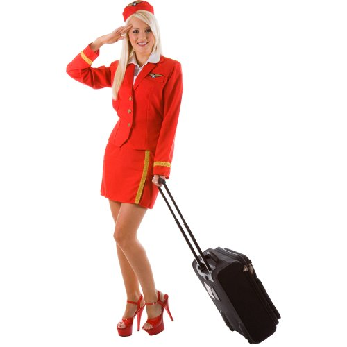 Air Fancy Dress Hostess Kostüm - Air Hostess Virgin Red Ladies Fancy Dress Extra Small