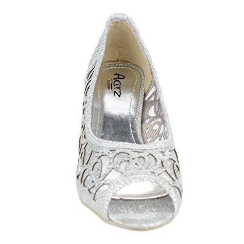 Frau Damen Abend Party Peeptoe Diamante Keilabsatz Sandalen Schuhe Größe Silber