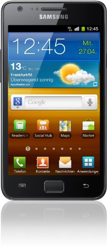 Samsung Mobile Samsung Galaxy S II i9100 DualCore Smartphone (10.9 cm (4.3 Zoll) Super-Amoled Plus Display, Android 4.0 oder höher, 8 MP Full-HD Kamera, 2 MP Frontkamera) noble-black