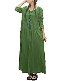 ELLAZHU Femme Robes Longue Coton Lin Broderie Large GB60