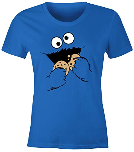 MoonWorks® Damen T-Shirt Krümelmonster Cookie Monster Fasching Karneval Kostüm Verkleidung Slim Fit blau 3XL