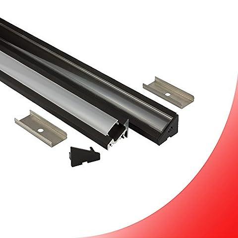 LED Aluprofil A20 schwarz Eckprofil 30° + Abdeckung Alu Schiene 30 grad Leiste für LED-Streifen-Strip 2m