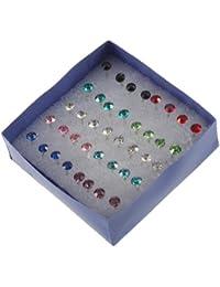 TOOGOO(R) 1 Caja 20 Pares Pendientes Perforacion de Orejas Cristal Color Mezclado