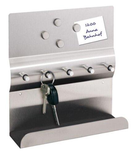 Schlüsselbrett aus Edelstahl mit 5 Schlüsselhaken in Silber