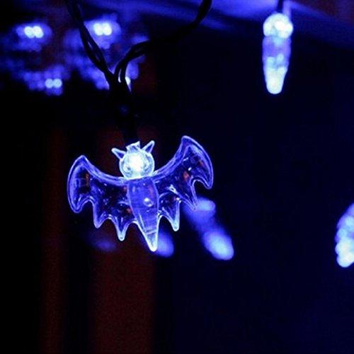 de® 20 LED Fee Schnur Licht 20 Bat Lichter Halloween Dekoration Licht (Weiß) (Veranda Halloween-dekoration)