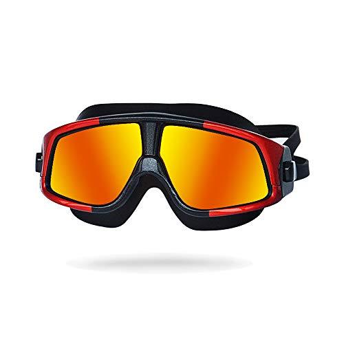 NAN® Unisex-Erwachsene Open Water Schwimmmaske Anti-Fog-Schutzbrille,Red