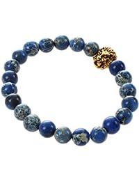 SLB Works Men Natural Blue Sea Sediment Jasper Stone Beads Bracelet Gold Lion Charm B R7L4