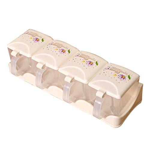 Jaminy Neue Würze Box Gewürz Gewürz Rack JAR Box Küche Aufbewahrungsbox 3 Und 4 Gitter (B) (Falt-handtasche Neue)