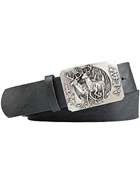 Jagd-Motiv Trachten-Leder-Gürtel mit Druckknopfriemen Vollrindleder Farbe: schwarz