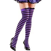 Amakando Overknees Halloween Chaussettes Hautes Vampire Chauve-Souris à  Rayures Bas sorcière soirée fête Veille 874268083f6