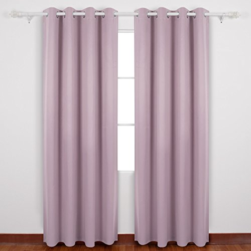 Deconovo Eyelet Curtains Ready Made Room Darkening Thermal Insulated Ring Top Blackout Curtains for Kids Room with Backside Silver Backing 46 Width x 54 Drop Pink Lavender 1 Pair