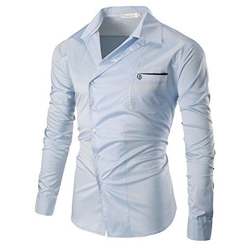 PIZZ ANNU Herren Einfach Einfarbig Cord Langarm-Shirt C1024 Hellblau