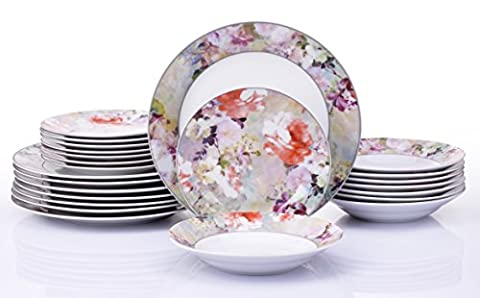 24 Piece Blossom Watercolour Dinner Set