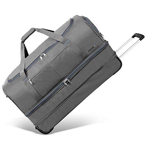 XXL Reisetasche Akropolis | Tasche mit Rollen und Trolley-Funktion | Sporttasche | 110 Liter groß - Grau