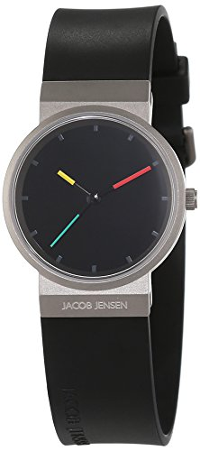 JACOB JENSEN Damen Analog Quarz Uhr mit Kautschuk Armband Item NO.: 650