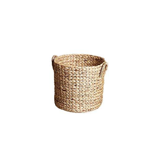 SNXYLOW Natürliche Hand Rattan Woven Seagrass Bauch Ablagekorb Blumentopf Klappkorb Weben Schmutziges Kleidungsstück Korb Obstkorb -