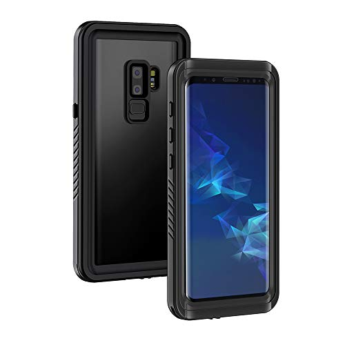 Lanhiem für Samsung Galaxy S9 Plus wasserdichte Hülle, [IP68 Zertifiziert Wasserdicht] Handy Hülle mit Eingebautem Displayschutz, Stoßfest Staubdicht Schneefest Outdoor Schutzhülle - Schwarz