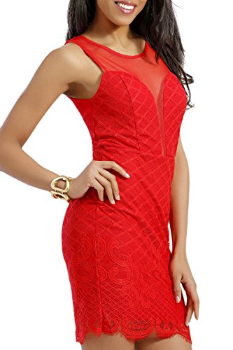 INFINIE PASSION - Dentelle - Robe sexy rouge Rouge
