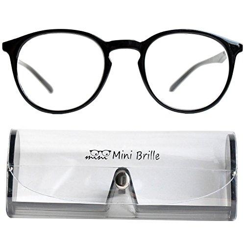 Klassische Nerd Lesebrille mit großen runden Gläsern - mit GRATIS Etui | Kunststoff Rahmen (Schwarz) | Lesehilfe für Damen und Herren von Mini Brille | +2.0 Dioptrien