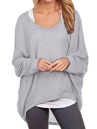 Fledermaus Langarm T-shirt (Cindeyar Asymmetrisch Pullover Pulli Oversize Strickjacke Longshirt Tunika Elegant Langarm Oberteile Tops T-Shirt (Small, Grau))