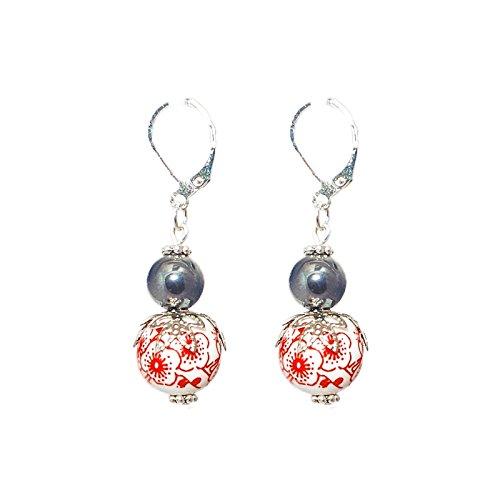 Créative Perles - Boucles D'Oreilles Céramique Fleurs Rouge