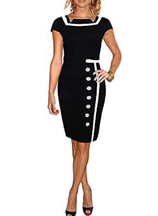 Miusol Damen Business Kleid Partykleid Marine Stil Pencilkleid Festkleid Größe.36-44 (44/XXL)