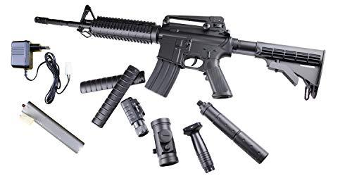 E Tac ASG Softair Gewehr AR 15 VOLLAUTOMATISCH AEG Elektrisch Airsoft Mega Set DS4 Carbine