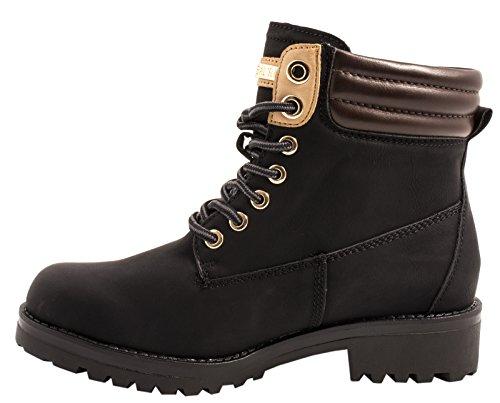 Elara Warm Gefütterte Stiefeletten   Profilsohle Schnürrer   Worker Boots  chunkyrayan Schwarz -