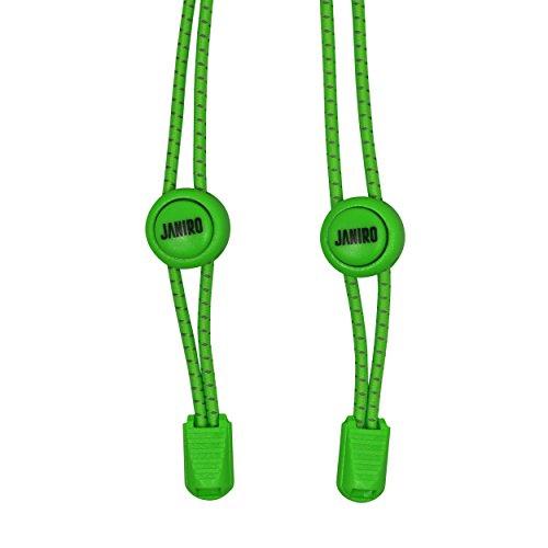 JANIRO - Der Elastische Schnürsenkel mit Schnellschnürsystem 120cm - Bietet perfekten Sitz und stabilen Halt für Kinder und Erwachsene ohne binden (Grün) (Schnürsenkel Runde Qualität Hohe)