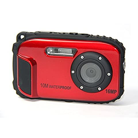 Appareil photo numérique Stoga CGT002 2,7 Pouces LCD Appareil photo Numerique 16MP Camescope Etanche Camera Zoom video Magnetoscope + 8 X Zoom Free Shipping Action Cam--Rouge
