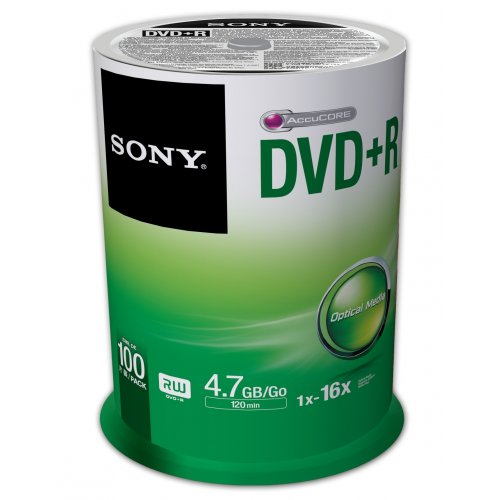 Sony 100DPR47SP 16x DVD+R 4. 7GB Recordable DVD Media - 100 Pack Spindle