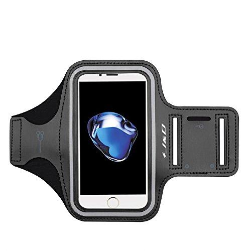 iPhone 7 Armband, J&D Sport-Armband für Apple iPhone 7, zusätzliche Tasche für Schlüssel, perfekte Kopfhörer-Verbindung für unterwegs - Schwarz
