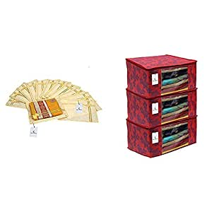 Kuber Industries Printed Non Wooven Saree Cover Set of 12 Pcs (with Zip Lock) & Metalic Flower 3 Piece Non Woven Saree Cover, Large, Red Combo
