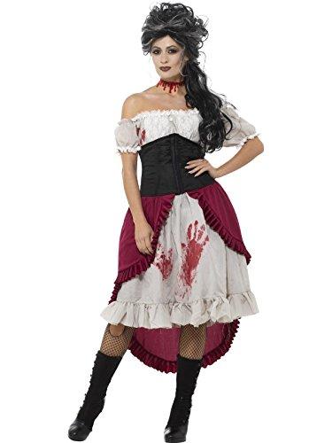 Smiffys, Damen Viktorianische Messerstecherin Kostüm, Kleid, Korsett und Überrock, Größe: 44-46, (Kleid Viktorianischen Kostüm Tag)