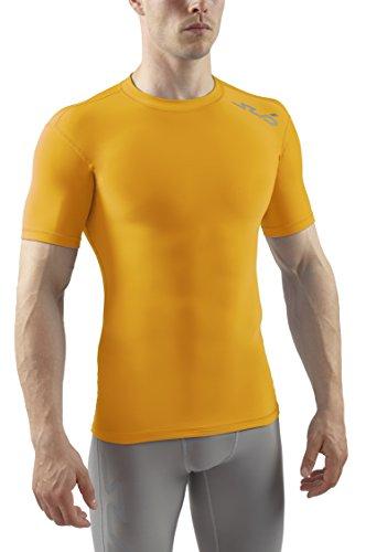 Sub Sports Herren Cold Kompressionsshirt Thermisch Funktionswäsche Base Layer kurzarm Gelb, XXL -